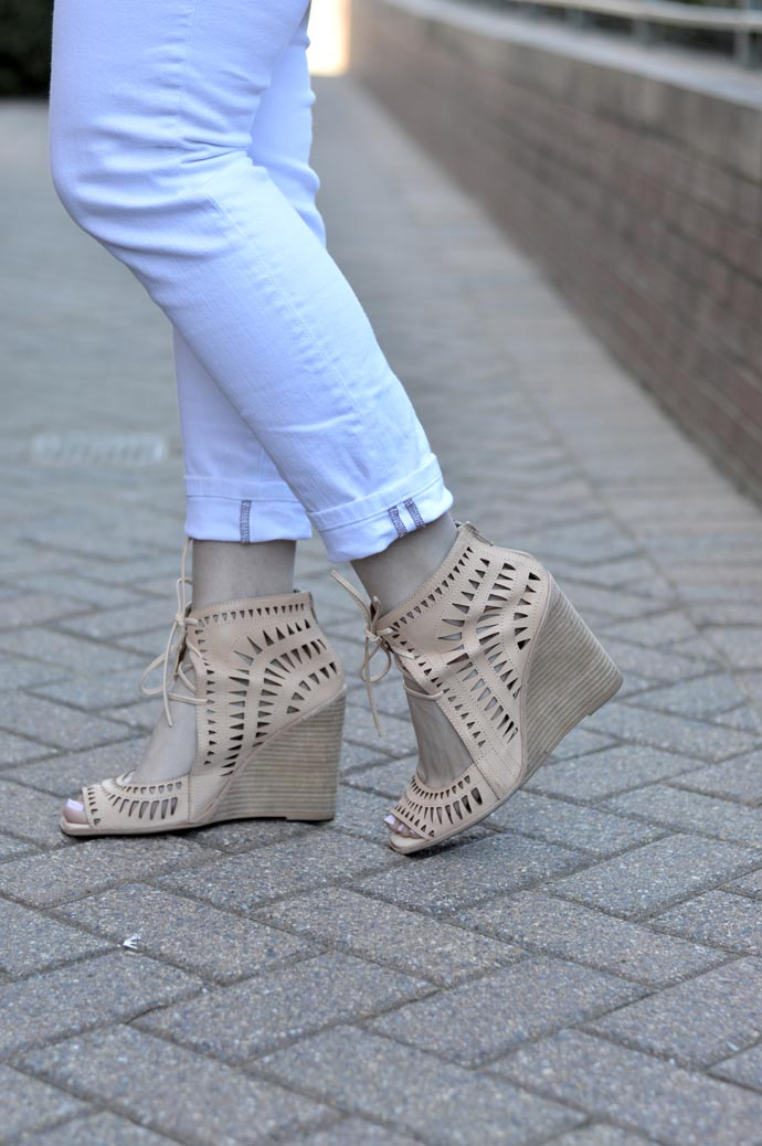 Jeffrey Campbell perforated wedges outfit