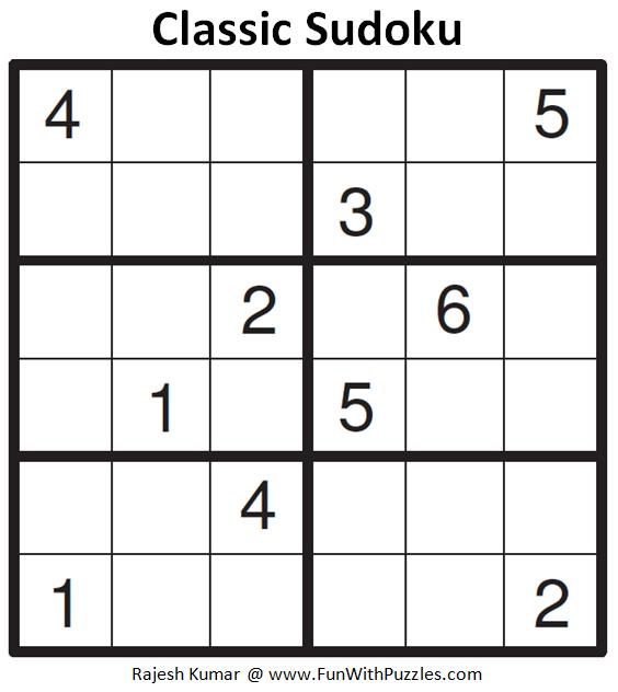 Classic Sudoku (Mini Sudoku Series #91)