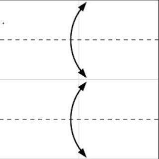 Bước 2: Gấp tạo nếp gấp bằng cách gấp tờ giấy vào (theo đường đứt đoạn) sau đó lại mở ra.