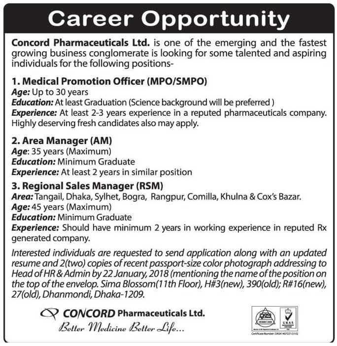 Concord Pharmaceuticals Ltd Bangladesh Job Notice 2018 - All Solution BD