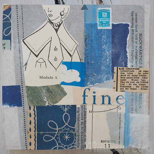 """""""Lebensfreude"""" Collage auf MDF, 15 x 15 cm, Mixed Media, alte Handarbeitszeitschriften, gefundene Papiere © Müllerin Art"""