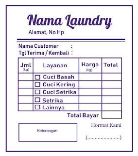 Contoh Nota Laundry Biru