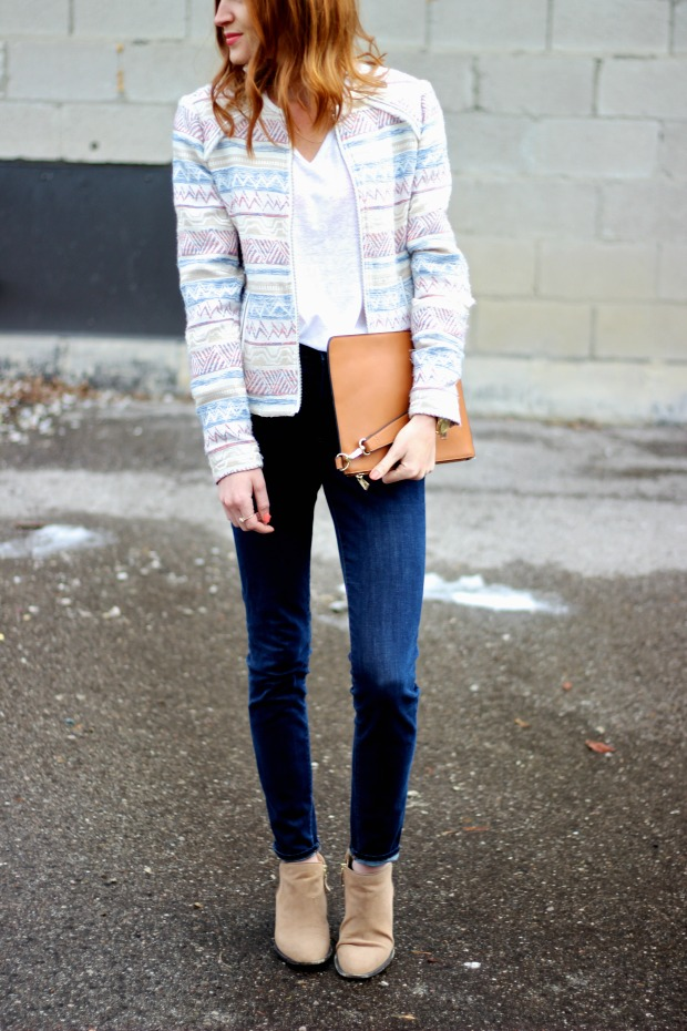 Spring Casual- Patterned Blazer, Peach beauty basics, denim