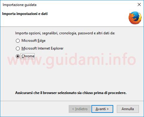 Firefox importare preferiti e impostazioni da altro browser internet
