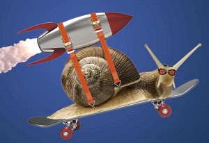 Rocket powered snail on skateboard