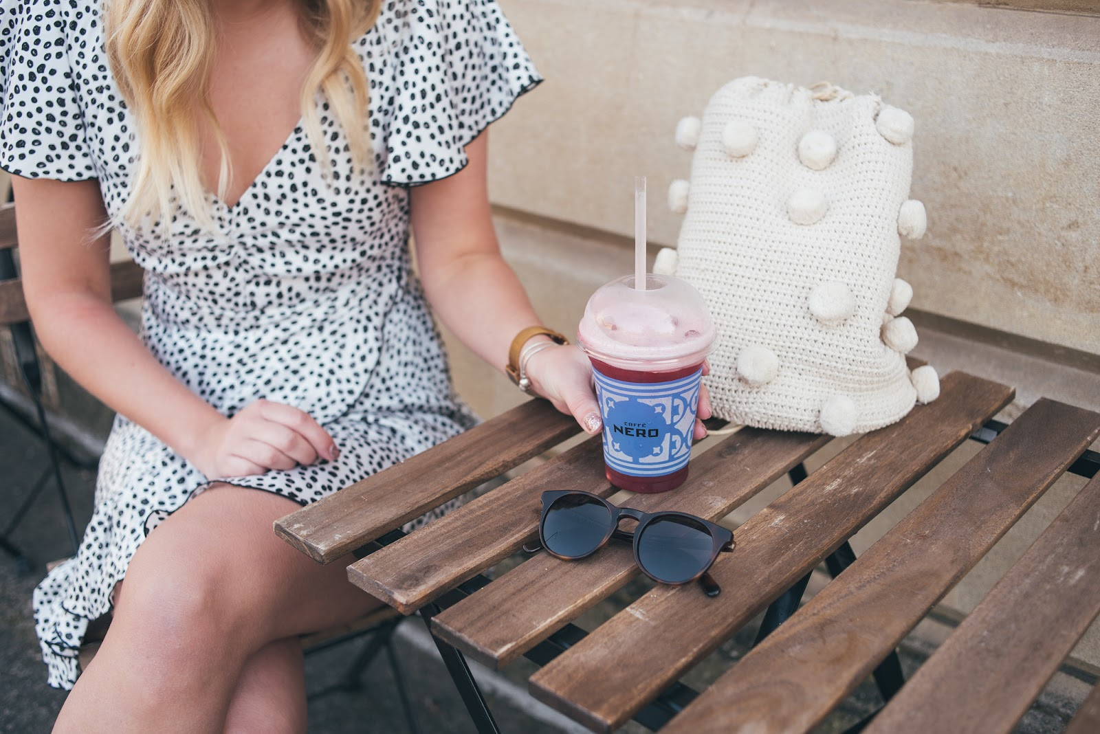 Zara Polka Dot Wrap Dress, Pom Pom Backpack, Finlay Co Percy Sunglasses and Smoothie