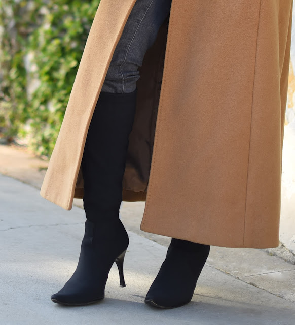 Donald J. Pliner black stretch crepe elastic boots with heels