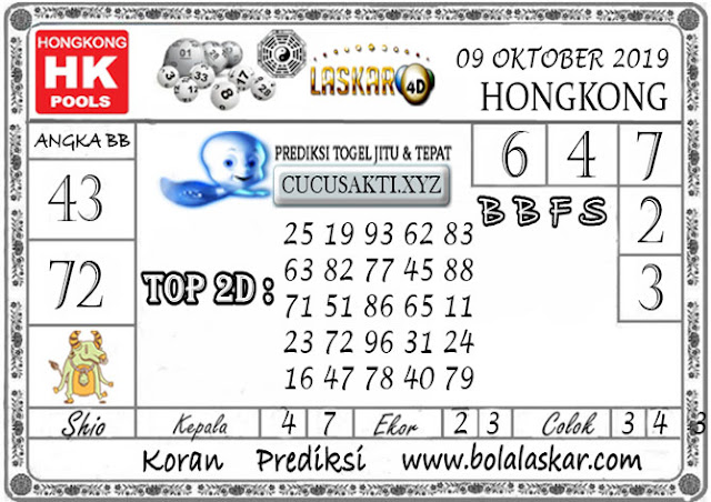 Prediksi Togel HONGKONG LASKAR4D 09 OKTOBER 2019