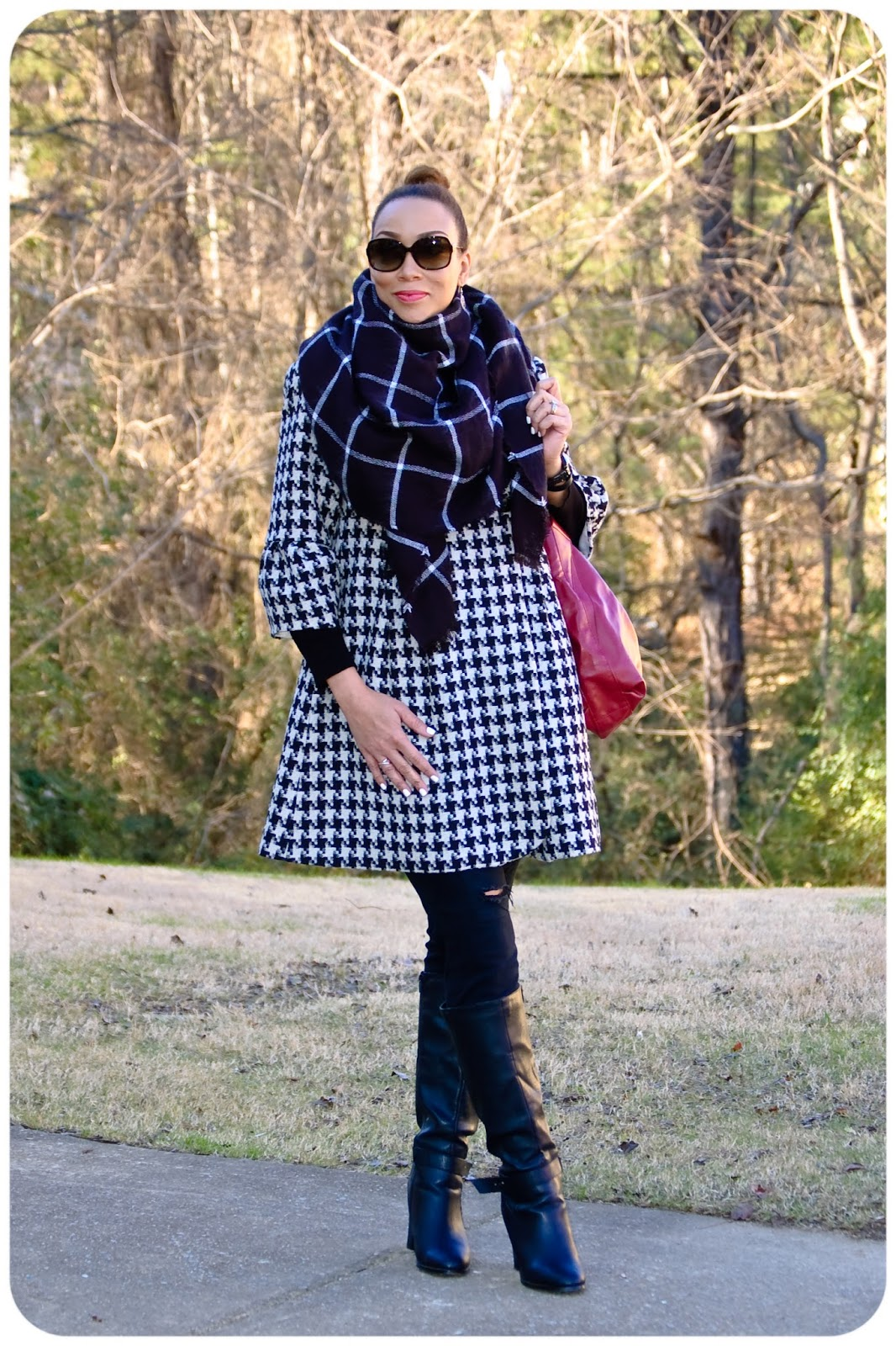Pattern Mixing Houndstooth And Windowpane