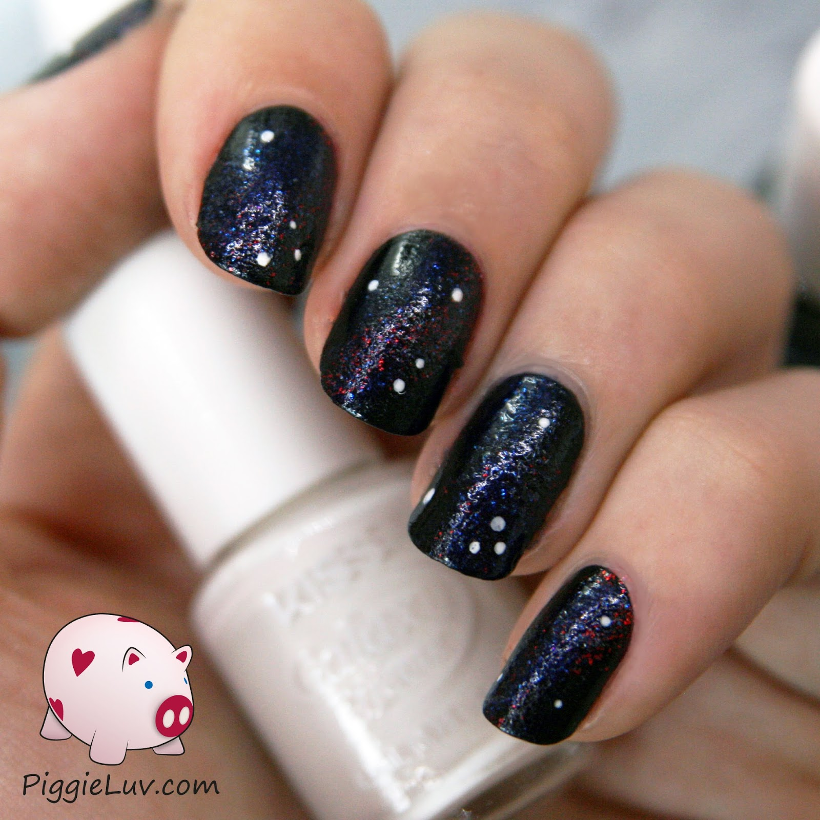 Pink And Blue Glitter Nail Designs