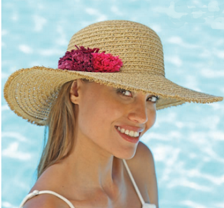 Sombrero de verano ala ancha con  flores rojas