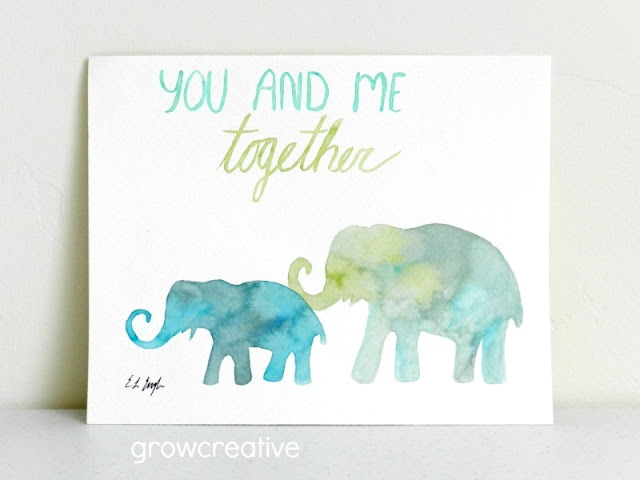 Watercolor Lettering with Elephants- You and me Together: growcreative