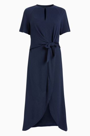 Next navy knot midi dress