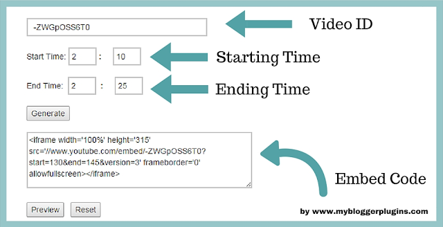 Howto Embed a Part of YouTube Video with Start-End Time