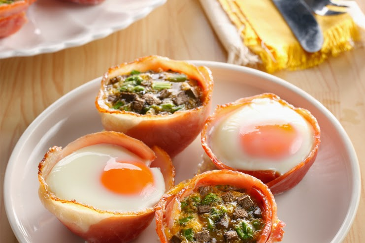 Baked Eggs in Ham Cups Recipe