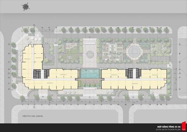 Mặt bằng tầng 35 và 36, khu tầng mái là tầng dịch vụ, cafe city view.