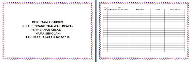 cover dan tabel buku tamu perpisahan kelas (untuk orangtua wali siswa)