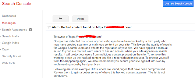 Hacked Content Found in Google Search Console