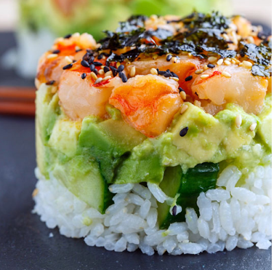 Spicy Shrimp Sushi Stacks #veganfood