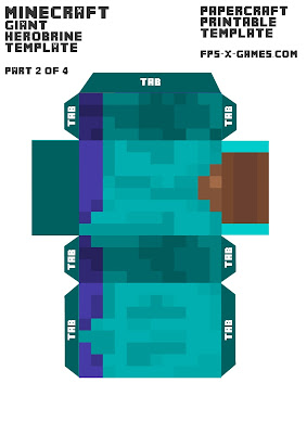 Minecraft herobrine printable template character 2 of 4 for Minecraft cut out templates