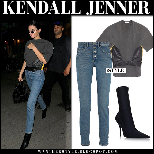 Kendall Jenner in black top, high rise jeans and black boots balenciaga september 10 2017 new york fashion week