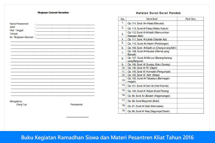 Buku Kegiatan Ramadhan Siswa dan Materi Pesantren Kliat Tahun 2016