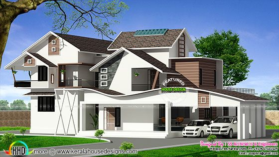Wavy roof house plan