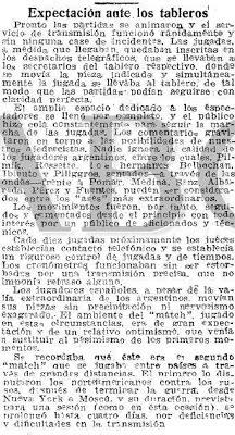 Recorte del diario ABC sobre el Match Internacional de Ajedrez Argentina-España, 1946