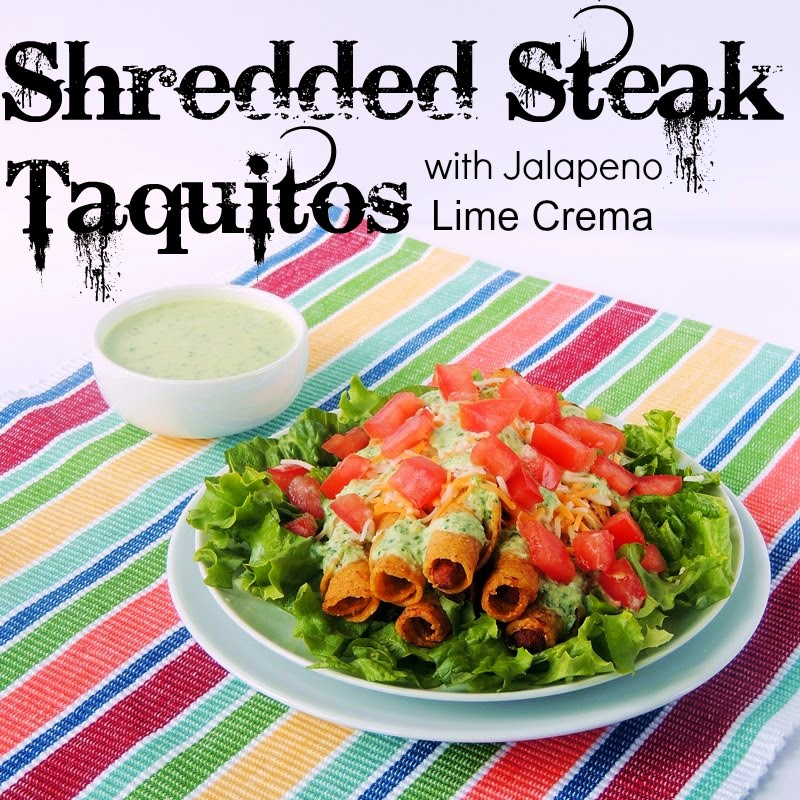 Shredded Steak Taquitos with Jalapeno Lime Crema from www.bobbiskozykitchen.com