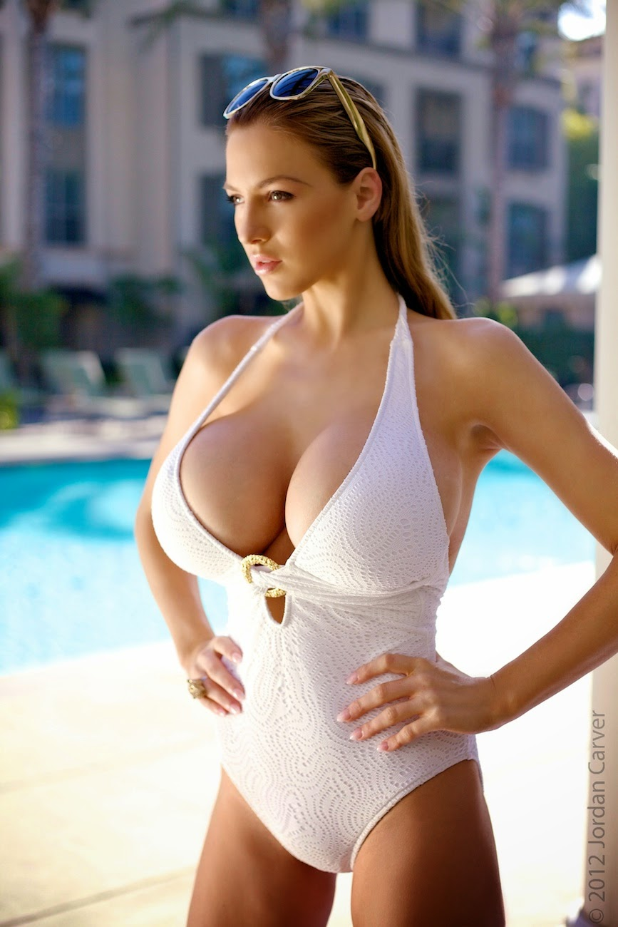 Jordan Carver Gorgeous Hot In White Lingerie Big Boobs -2651