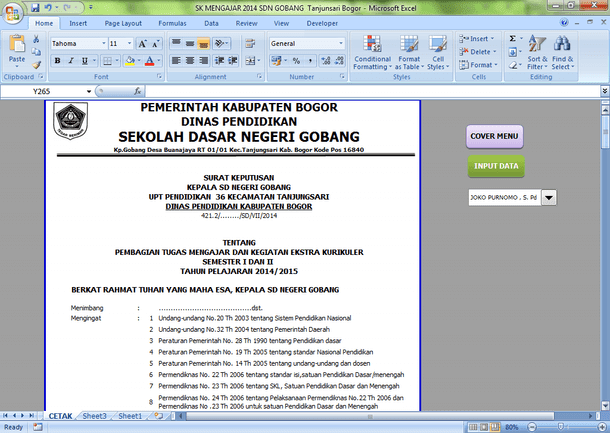 Contoh SK Pembagian Tugas Mengajar dan Kegiatan Ekstrakurikuler Format Microsoft Excel