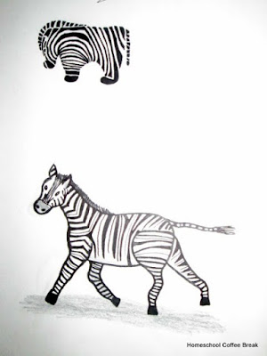 Zebras on the Virtual Refrigerator, an art link-up hosted by Homeschool Coffee Break @ kympossibleblog.blogspot.com
