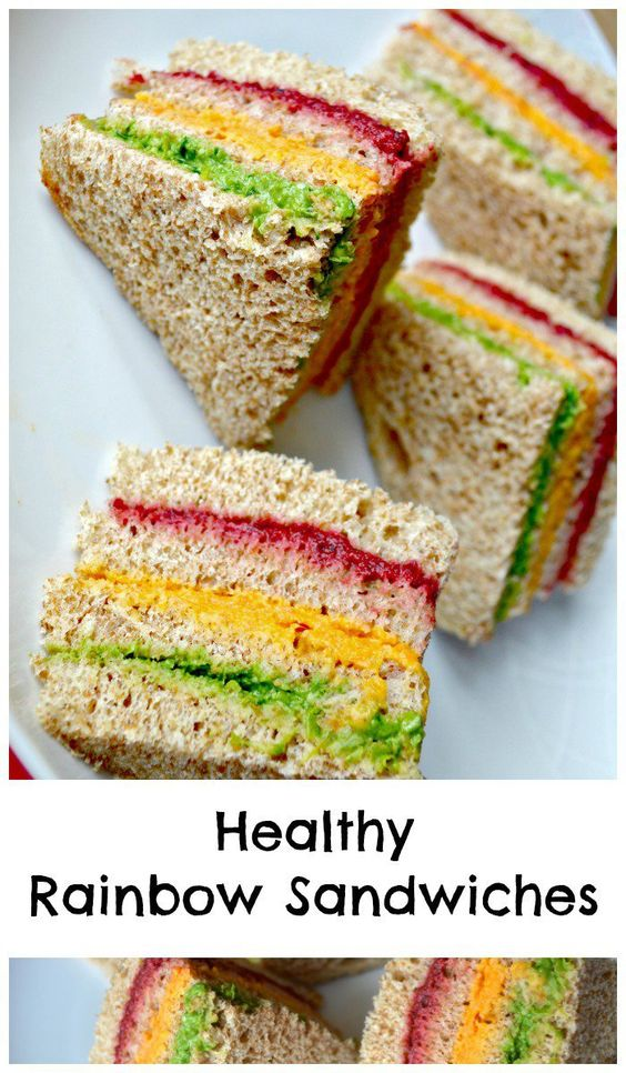 Healthy Rainbow Sandwiches Kids Lunch Idea