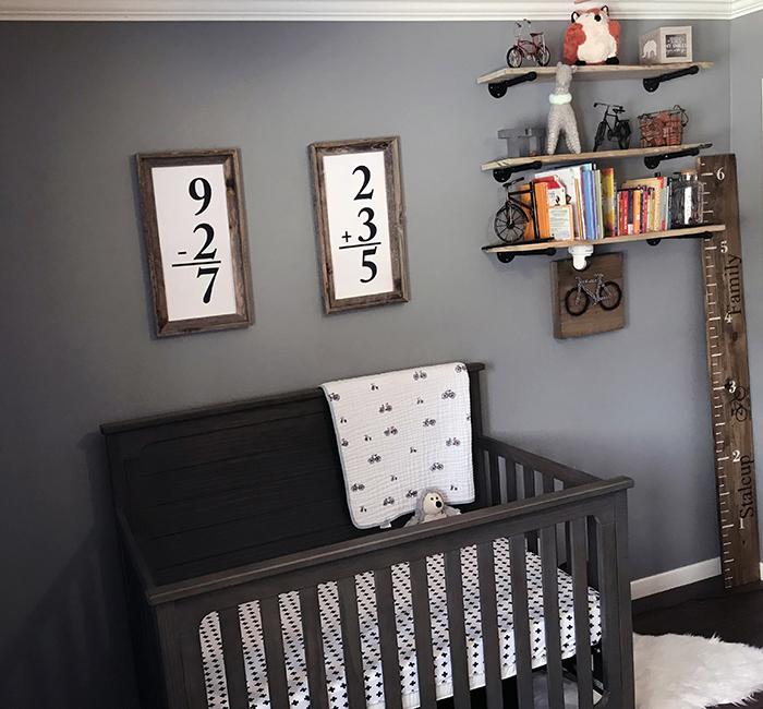 Bike nursery with flash card printable on wall