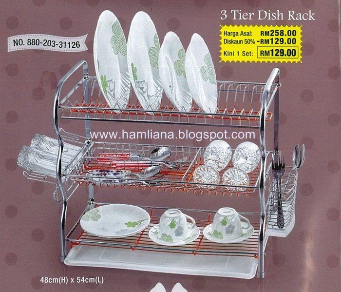 Rak Pinggan 3 Tingkat Stainless Steelhanya Rm129 00 Rm20 Postage