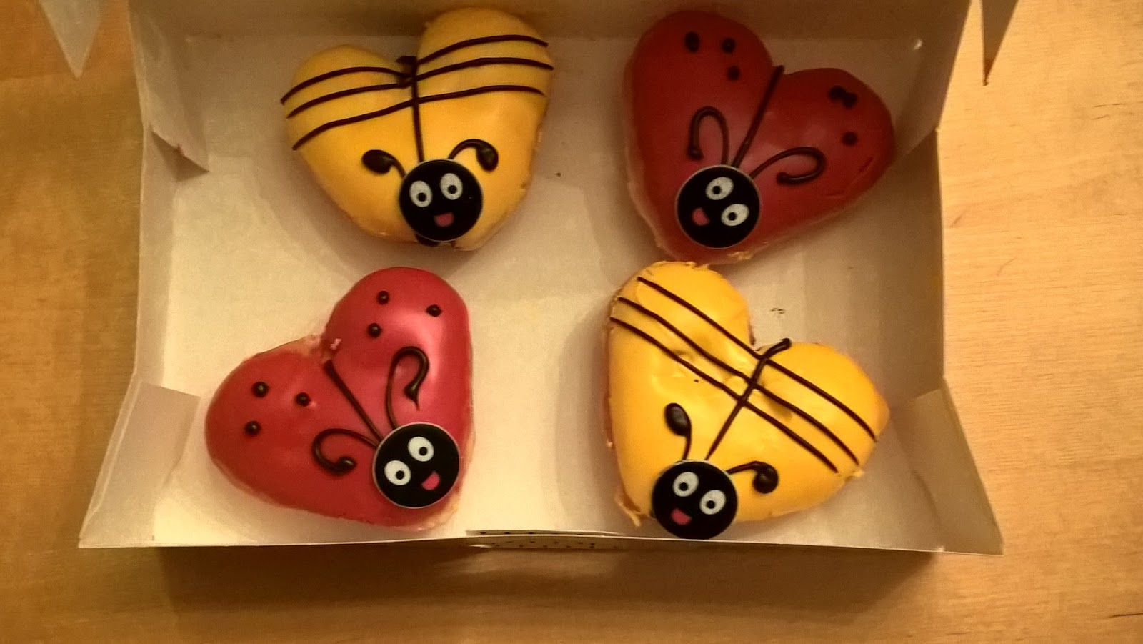 Box containing Love Bug & Honey Bee Krispy Kreme Doughnuts - doughnut review & giveaway - motherdistracted.co.uk