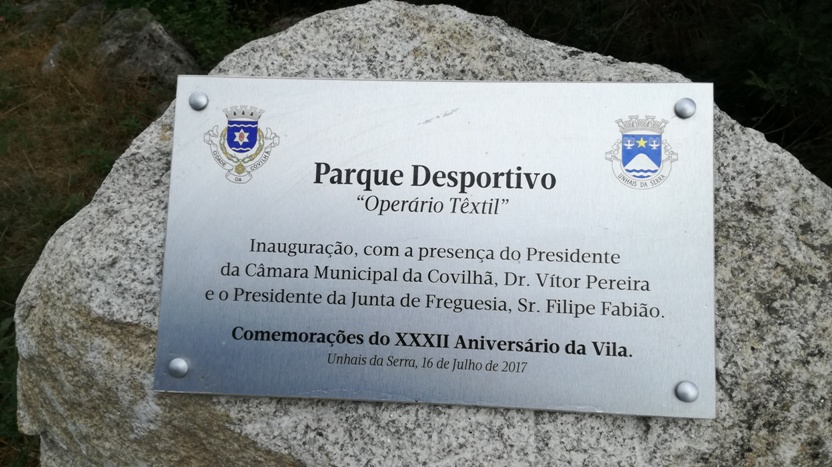 Placa do parque Desportivo Unhais da Serra