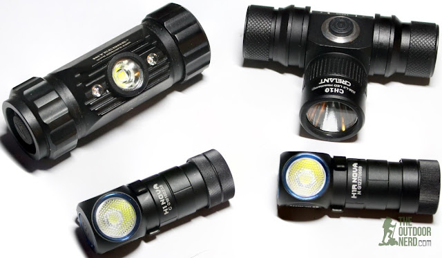 Olight H1R and H1 Nova Headlamps With Nitecore HC50 and Crelant CH10 Headlamps