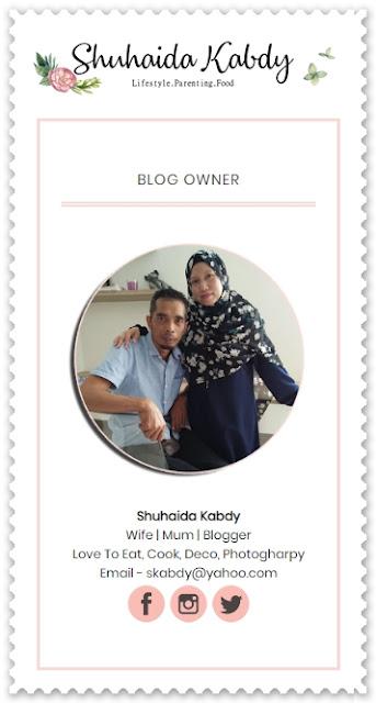 Sahabat blogger pilihan Starlavenderluna : Shuhaida Kabdy