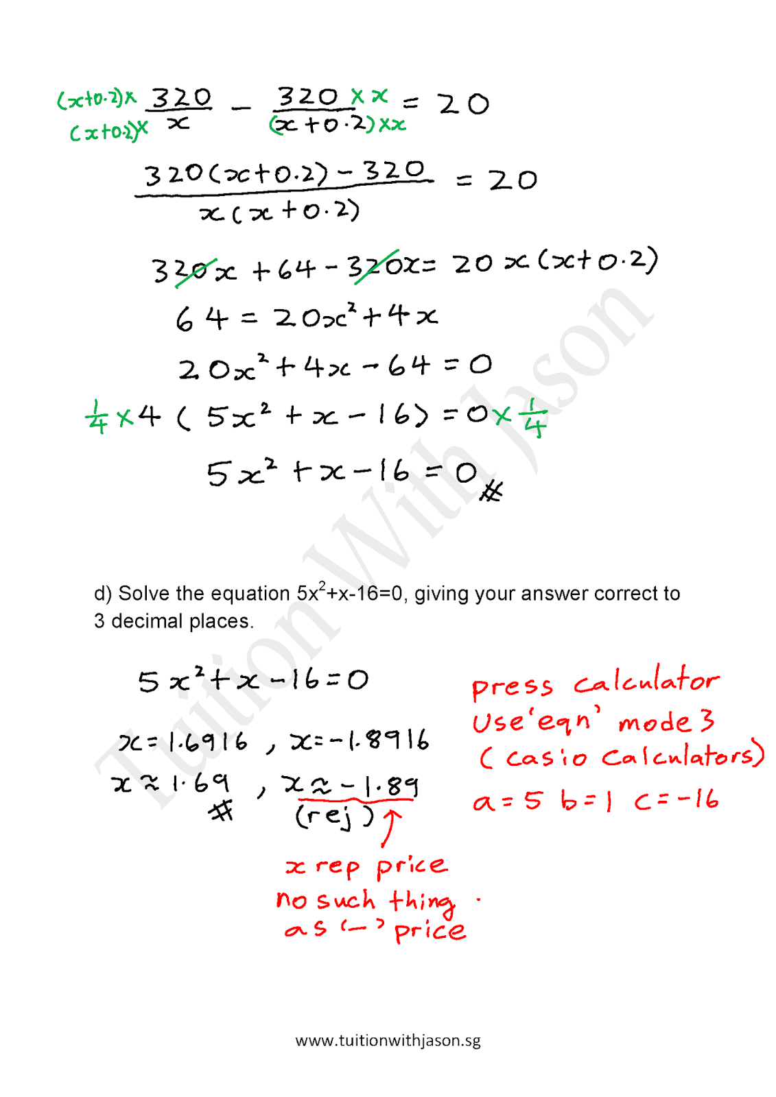 Quadratic Equations Word Problems With Answers
