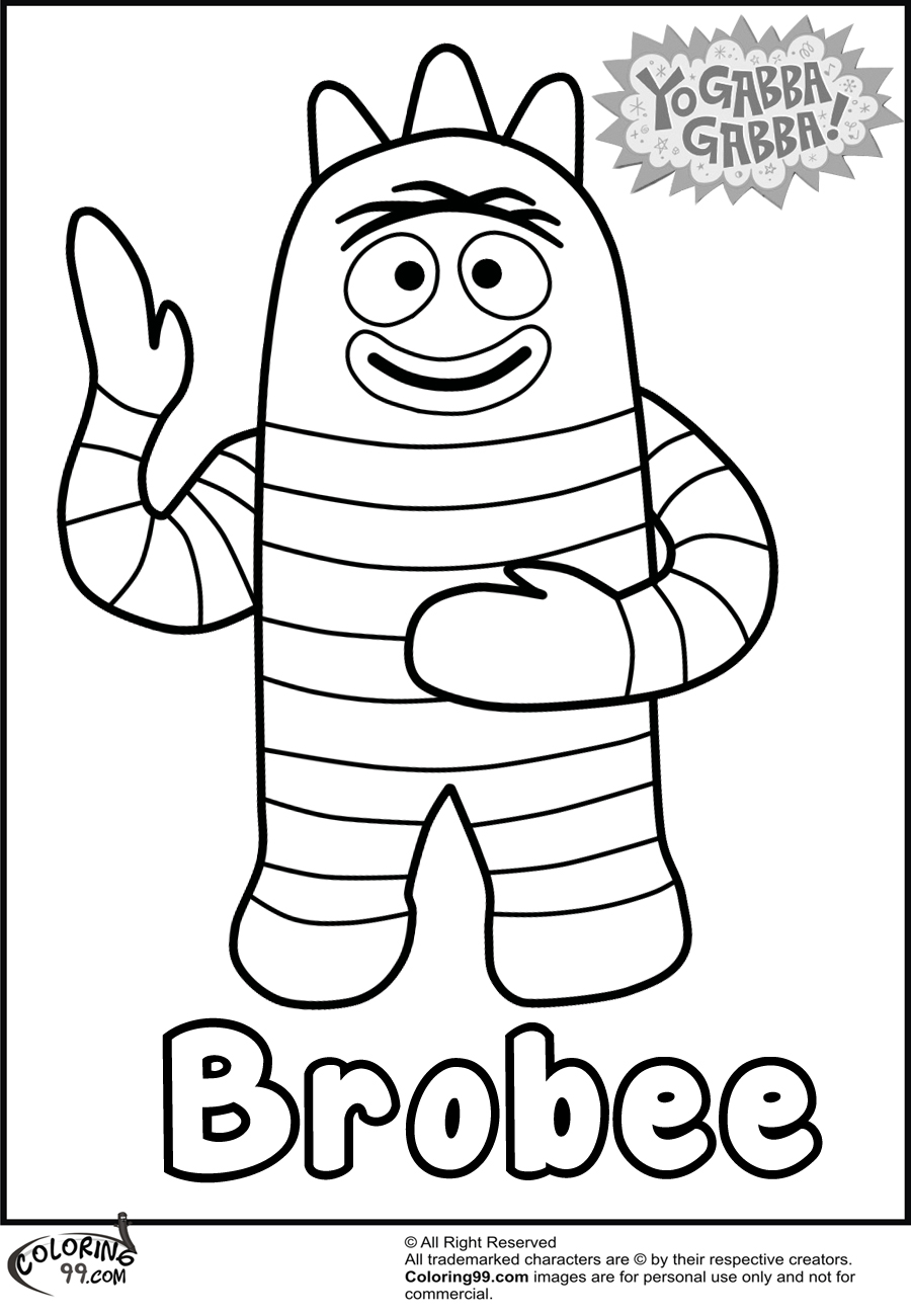 Brobee Yo Gabba Gabba Coloring Pages Team Colors