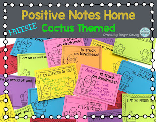 Freebie, Cactus Themed Positive Notes Home, www.justteachy.com