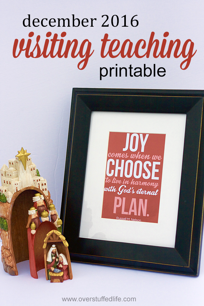 "visiting teaching printable | december 2016 visiting teaching handout | printable download | ""Joy comes when we choose to live in harmony with God's eternal plan"" 