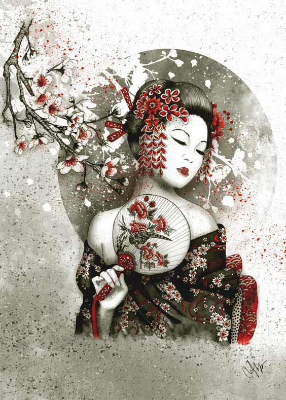 Traditional geisha tattoo designs photos for boys