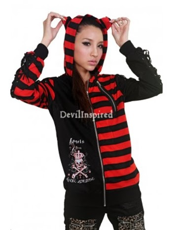 c1df999f3e Black and Red White Striped Punk Jacket for Women