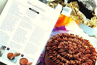 Wnętrze książki, przepis na tort czekoladowy