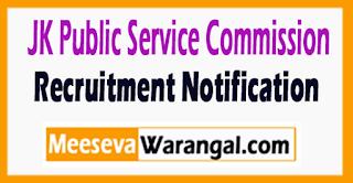 JKPSC Jammu Kashmir Public Service Commission Recruitment Notification 2017