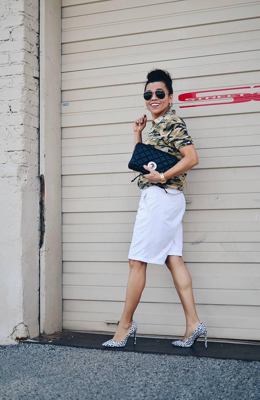 Outfit with camouflage and leopard