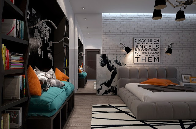 This bedroom heroes terracotta and turquoise amidst a black bookcase, quilted grey block bed and monochromatic elements