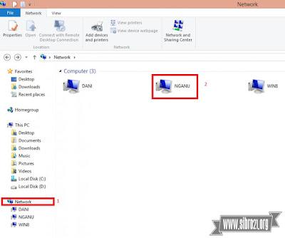 Kemudian kita cek dilaptop 2, buka explorer dan klik Network > pilih nama laptop 1 tadi